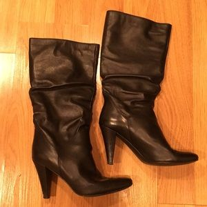 ALDO Boots-black leather, mid-calf, Women's size 9